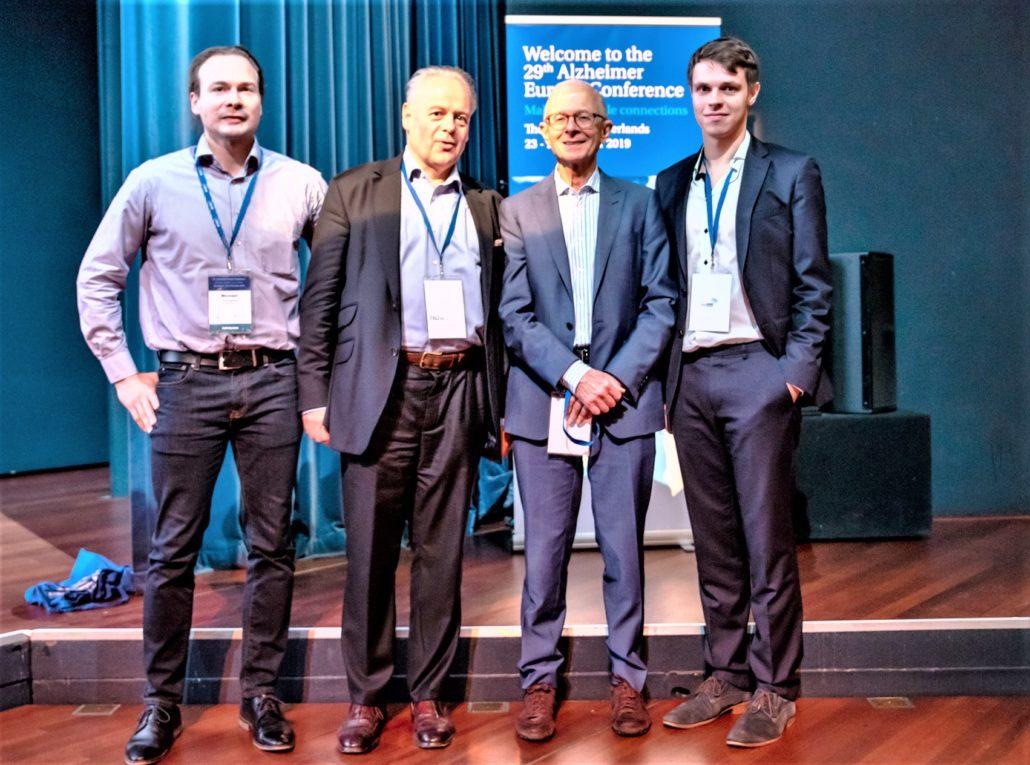 Das digiDEM Bayern-Team mit Prof. Henry Brodaty: Michael Reichold MSc., Prof. Dr. med. Peter Kolominsky-Rabas, Prof. Henry Brodaty, Nikolas Dietzel MSc. (v.l.)