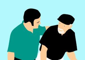 Comic: Jüngerer Mann nimmt älteren Mann in den Arm