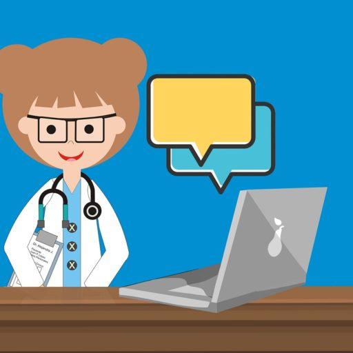 Comic: Ärztin vor Laptop