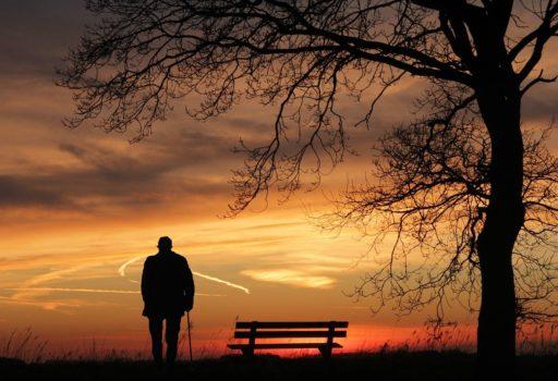 Mann mit Geh-Stock von hinten, vor Sonnenuntergang.
