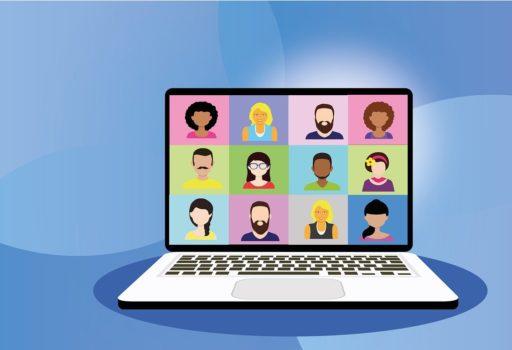 Symbolbild: Comiczeichnung von Laptop mit Videokonferenz